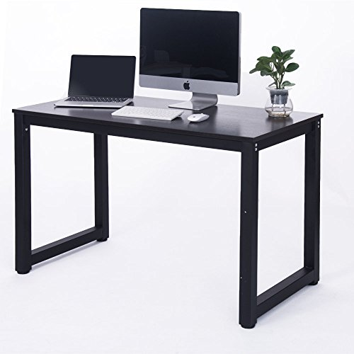 Merax 16106 Modern Simple Design Computer Desk, Table, Workstation for Home and Office, Black/Espresso (Desk Metal Workstation Black)