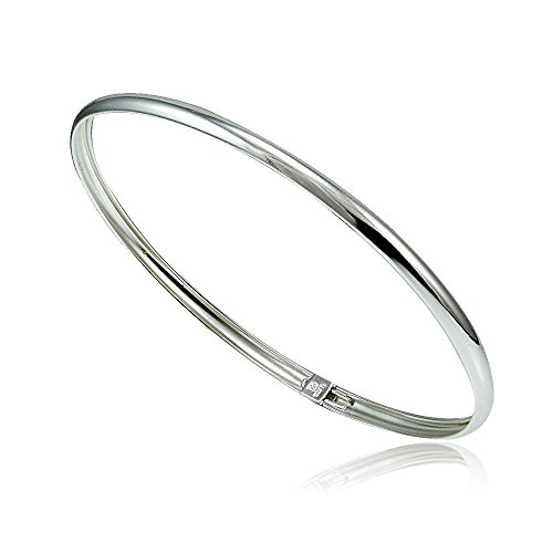 Hoops & Loops - Sterling Silver High Polished Flexible Bangle Bracelet | Sterling Silver, Yellow and Rose Gold Flash Plated