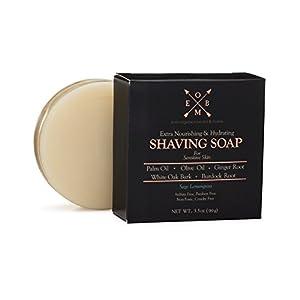 Premium Shaving Soap Bar – Sulfate Free, Natural & Organic Shave Soap for Men with Dry, Sensitive Skin (3.5 oz) Olive Oil, Palm Oil, Ginger Root, Burdock Root & White Oak Bark in Sage Lemongrass