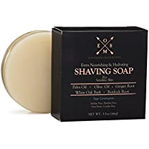 Premium Shaving Soap Bar – Sulfate Free, Natural & Organic Shave Soap for Men with Dry, Sensitive Skin (3.5 oz) Olive Oil, Palm Oil, Ginger Root, Burdock Root & White Oak Bark in Sage Lemongrass