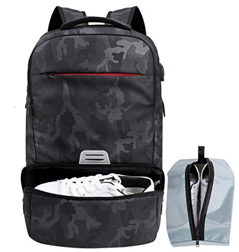 Sports Backpack Men Travel Laptop Backpack with Shoe Compartment for Gym Fitness, College Laptop Backpack 16.5 inch with USB Charging Port(Camo)