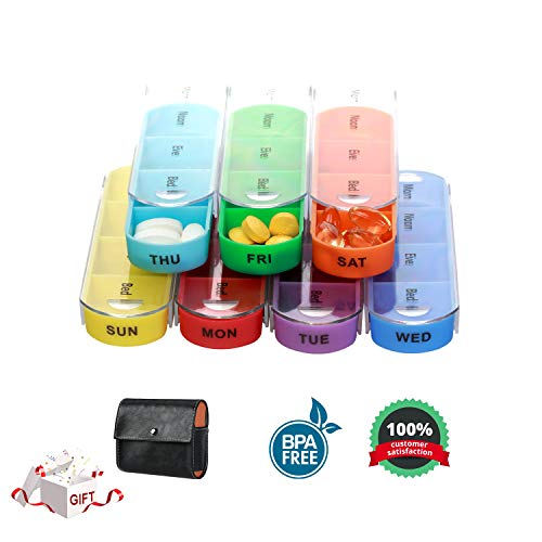 Case Supplement - Pill Organizer, Pill Box Weekly Pill Organizer Travel Pill Case Pill Container 7 Day 4 Times a Day for Daily Vitamins Fish Oil Supplements and Medication with Travel Case