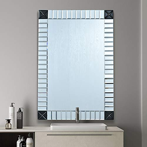 COMMODA Beveled Accent Decorative Frameless Wall Mirror Glass in Rectangular Shapes Black -