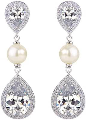 [Big Sale for 2 Weeks] EVER FAITH Women's CZ Ivory Color Simulated Pearl Tear Drop Dangle Earrings Clear Silver-Tone