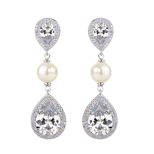 EVER FAITH Women's CZ Ivory Color Simulated Pearl Tear Drop Dangle Earrings Clear Silver-Tone (Ivory Bridal Earring)