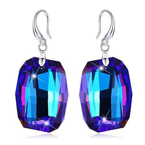 Tacther.H Women Blue Square Swarovski Crystals Dangle Hook Earrings Sterling Silver Jewelry Gifts