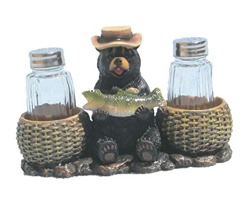 Grizzly Bear Fisherman with Fish - Rustic Salt and Pepper Holder Figure