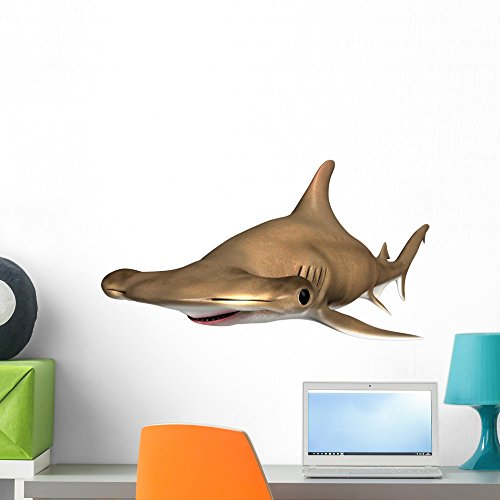 Wallmonkeys Sphyrna Hammerhead Shark Wall Decal Peel and Stick Animal Graphics (24 in H x 24 in W) (Bright Eyes Shark)