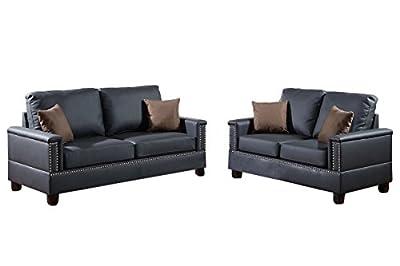 Poundex F7873 Bobkona Norris Bonded Leather 2 Piece Sofa and Loveseat Set, Black