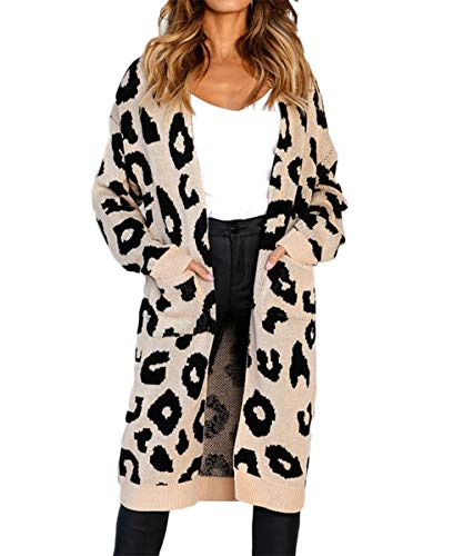 FAFOFA Women's Long Open Front Drape Chunky Maxi Long Sleeve Cardigan Sweater Outwear Khaki M