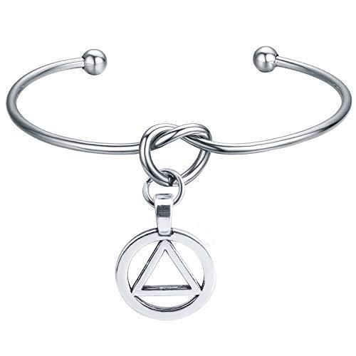 BAUNA Recovery AA Cuff Bracelet 12 Step Jewelry Alcoholics Anonymous Gifts AA Symbol Pendant Sobriety Gift Sponsor Gift (AA Cuff Bracelet)