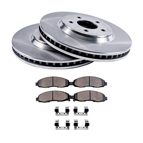 "Detroit Axle - 10.20"" FRONT Brake Rotors & Ceramic Brake Pads w/Clips Hardware Kit - Premium GRADE for Buick Skylark Chevrolet Beretta Cavalier Corsica Grand Am Sunbird Sunfire"