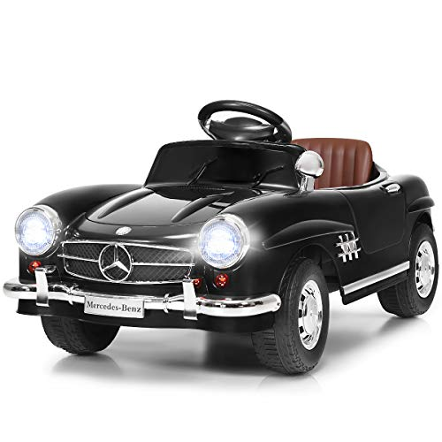 Costzon Ride On Car, Licensed Mercedes Benz 300SL, 6V Battery Powered Kids Vehicle with Parent Remote Control, Safety Belt, Lights, Music, MP3, Volume Control, Electric Vehicle for Boys & Girls, - Car Electric