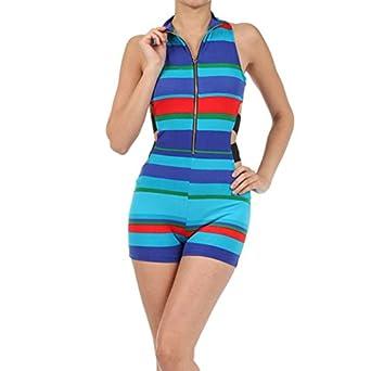 885ba21b4acb Amazon.com  Prima DND Rodney Stripe Elastic Band Shorts Romper  Clothing