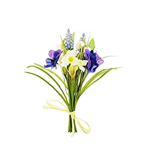 MARJON FlowersMixed Spring Bundle Artificial Pansy, Snowdrops, Narcissi and Hyacinth 73