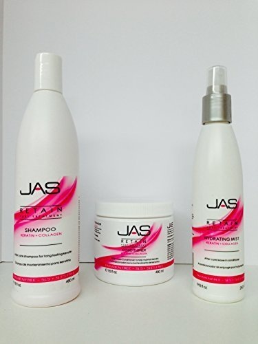JAS Retain Port Treatment Leave in Cream Keratin + Collage 8 Oz, Conditioner Keratin+ Collagen 16 Oz & Shampoo Keratin + Collagen 16 Oz Free Starry Sexy Kiss Lip Plumping 10 Ml