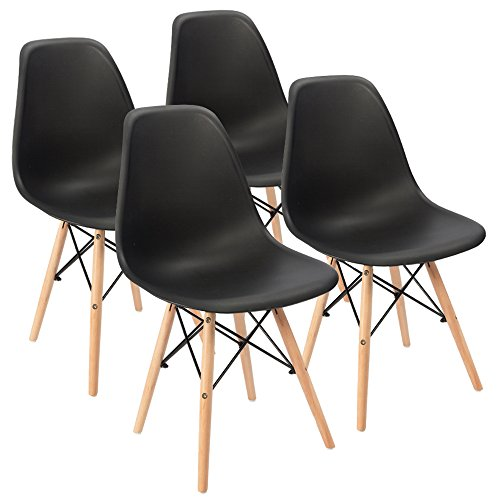 Eames Pre Assembled Dining Chair Effiel Modern DSW Chair, Shell Lounge Chair for Kitchen, Dining, Bedroom, Living Room(Set of 4) - Black Leather Upholstered Dining Chairs