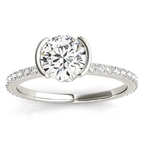 (0.30ct) 14k White Gold Semi-Bezel Diamond Engagement Ring Setting