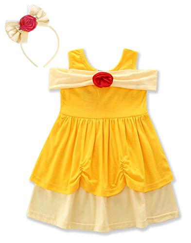 HenzWorld Belle Costume Dress Headband Girls Princess Birthday Party Off Shoulder Flower Playwear Pajamas Outfit -