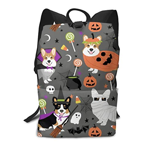 Corgi Halloween Party Cute Corgis Dressed Up For October st Middle School Backpack For Teen Large Casual Durable Daypack Travel Rucksack