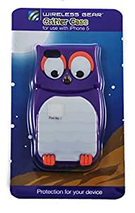 Adorable Soft Rubber Owl Protective Skin/Case for iPhone 5 - Purple and White