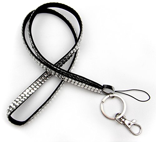ALL in ONE Rhinestone Lanyard Bling Crystal Necklace with Keyring for Business Id Badge/Card Holders/key/cell Phone (WHITE)