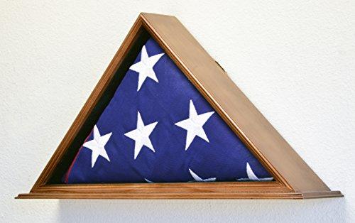 Flag-Display-Case-for-5-x-95-BurialFuneralCasketVeterans-Military-Flag-Box-Solid-Wood-USA-Walnut-Finish