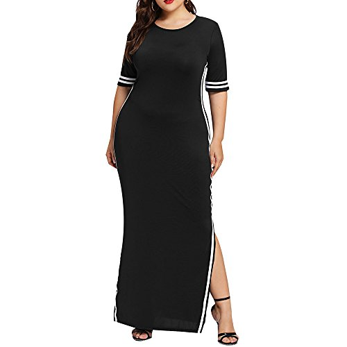 Sttech1 Ladies Fashion Plus Size Solid Color Striped Slim Short Sleeve Dress Oversized Women Maxi Skirt