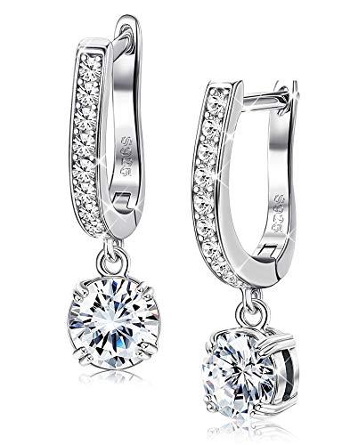 Sllaiss 925 Sterling Silver With Swarovski Cubic Zirconia Dangle Earrings for Women Girls Horseshoe Drop CZ Earrings