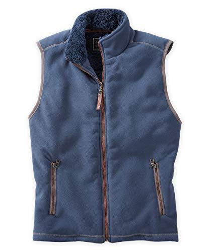 True Grit Mens Bonded Polar Fleece & Sherpa Vest (Vintage Denim, XL)