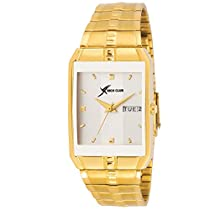 Rich Club Analogue Square Silver Dial Golden Plated Strap