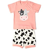 e3e17dcf4e9af Baby Clothes Sets Infant Outifts Toddler Short Sleeve Shirt + Pants with  Animals Dows (Summer
