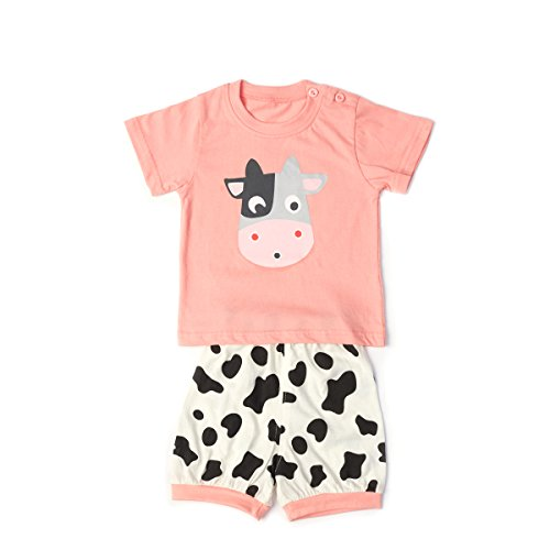 Baby Clothes Sets Infant Outifts Toddler Short Sleeve Shirt + Pants with Animals Dows (Pink, 12-18 Months)