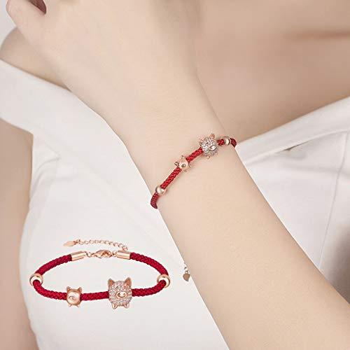 Sinfu Women's Adjustable Bracelet Crystal Piglet Beaded Pendant Hemp Rope Bracelet Jewelry