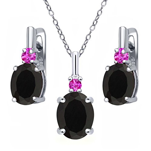 4.97 Ct Oval Black Onyx Pink Sapphire 925 Sterling Silver Pendant Earrings (Oval Sapphire Pendant Set)