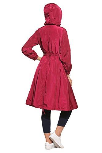 Longues Blouson Bordeaux Zeagoo Uni Rouge Femme Manches dtYdZawznq