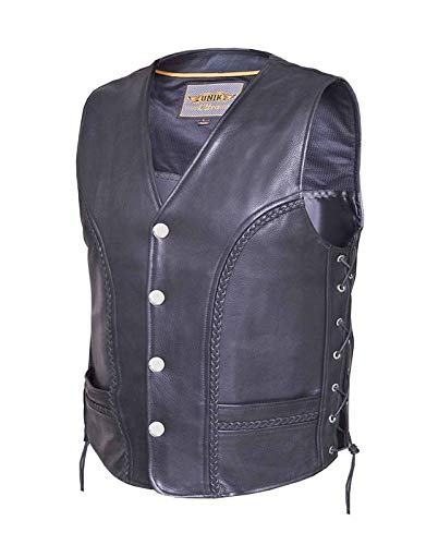 Ultra Men's Braided Motorcycle Leather Vest,Black,Size - 3XL