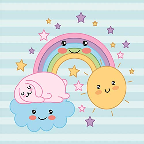 Yeele 7x7ft Baby Shower Photography Background Baby Birthday Rainbow Cartoon Anime Comic Blue Stripe Party Photo Backdrops Portrait Shooting Studio Props ()