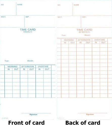 Compumatic CTR121 Time Cards, 1000 time cards, weekly & bi-weekly pay periods