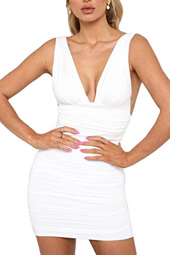Jennyarn Dresses for Women Ruched Wide Strap Sleeveless Summer Beach Dresses White S