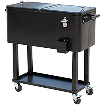 Outsunny 80 QT Rolling Ice Chest Portable Patio Party Drink Cooler Cart    Black