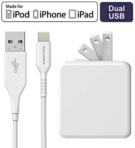(Galvanox (Apple MFi Certified) iPhone Charger Cable (5ft) with 17W Power Adapter - Lightning to USB Charging Cord Plus Dual USB-Port Wall Plug (for iPhone 7/8/X/XR/XS)