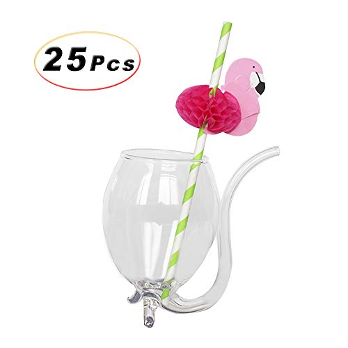 25 Pcs Disposable Degradable Striped Drinking Straws with 3D Honeycomb Flamingo for Birthday Wedding Tropical Hawaii Luau Party Bars Club Cold Drink Cocktail Coconut Juice Supplies (Lime (Lime Coconut Cocktail)