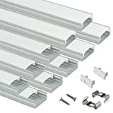 Muzata 10 Pack 1M/3.3ft Aluminum LED Channel for LED Strip Lights,Track housing, U-Shape Aluminum Profile with All Accessories for Easy Installation U1SW Series LU1