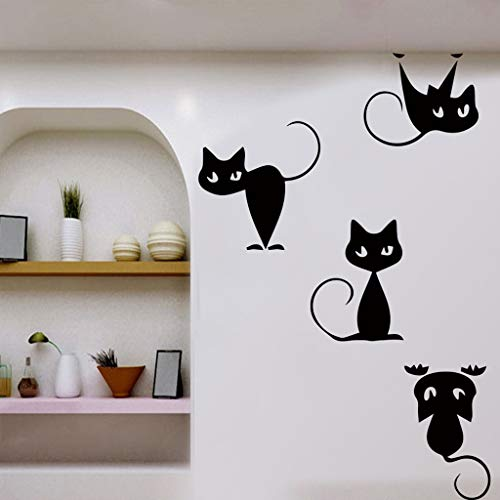 (SUJING Cartoon Animal Sticker DIY Removable Cat Wall Stickers Home Decorative Decal Kids Nursery Baby Room Living Room/Bedroom/Ceramics)
