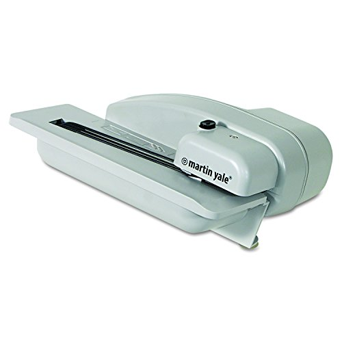 Martin Yale 1628 Desktop Letter Opener with Concealed Blade, Gray, 8'x10-1/2'x4-3/4' Dimensions; Electric Operating Mode; 3000 Envelopes Per Hour; 1' Stack Capacity