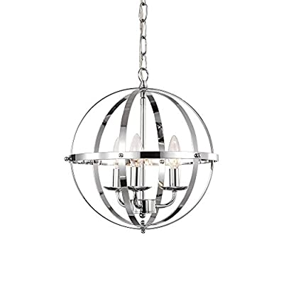 LaLuLa Chrome Chandelier Lighting Industrial Globe Pendant Lighting 3 Light Metal Ceiling Light Fixture 17176