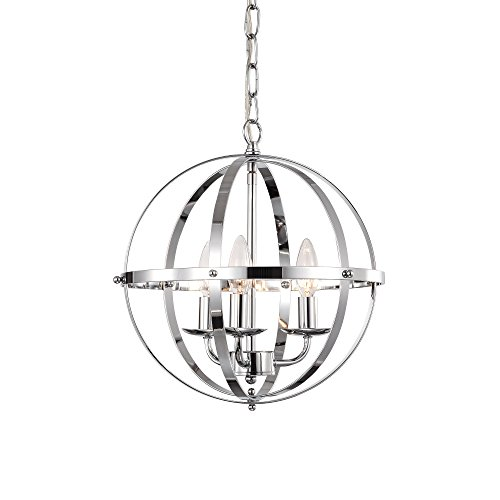 LaLuLa Chrome Chandelier Lighting Industrial Globe Chandeliers 3 Light Metal Ceiling Light Fixture 17176 Review