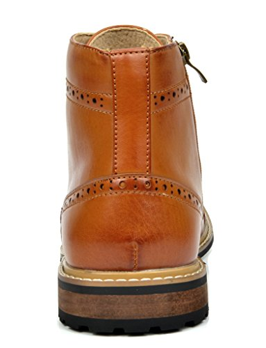Bruno MARC BERGEN-03 Men's Formal Classic Notched Lace Up Perforated Leather Lined Ankle High Oxford Dress Boots BROWN SIZE 11