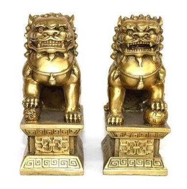 FunnyToday365 Chinese Brass Copper Statue Foo Dogs Lions Pair A Female Lion On The Talisman Of Evil